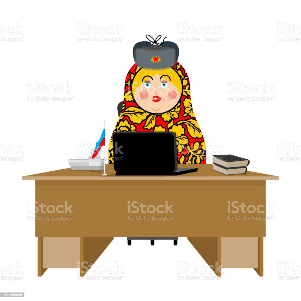 Russian hacker. Matryoshka and laptop. IP technology in Russia. Traditional folk toy in fur hat. Nested doll vector art illustration