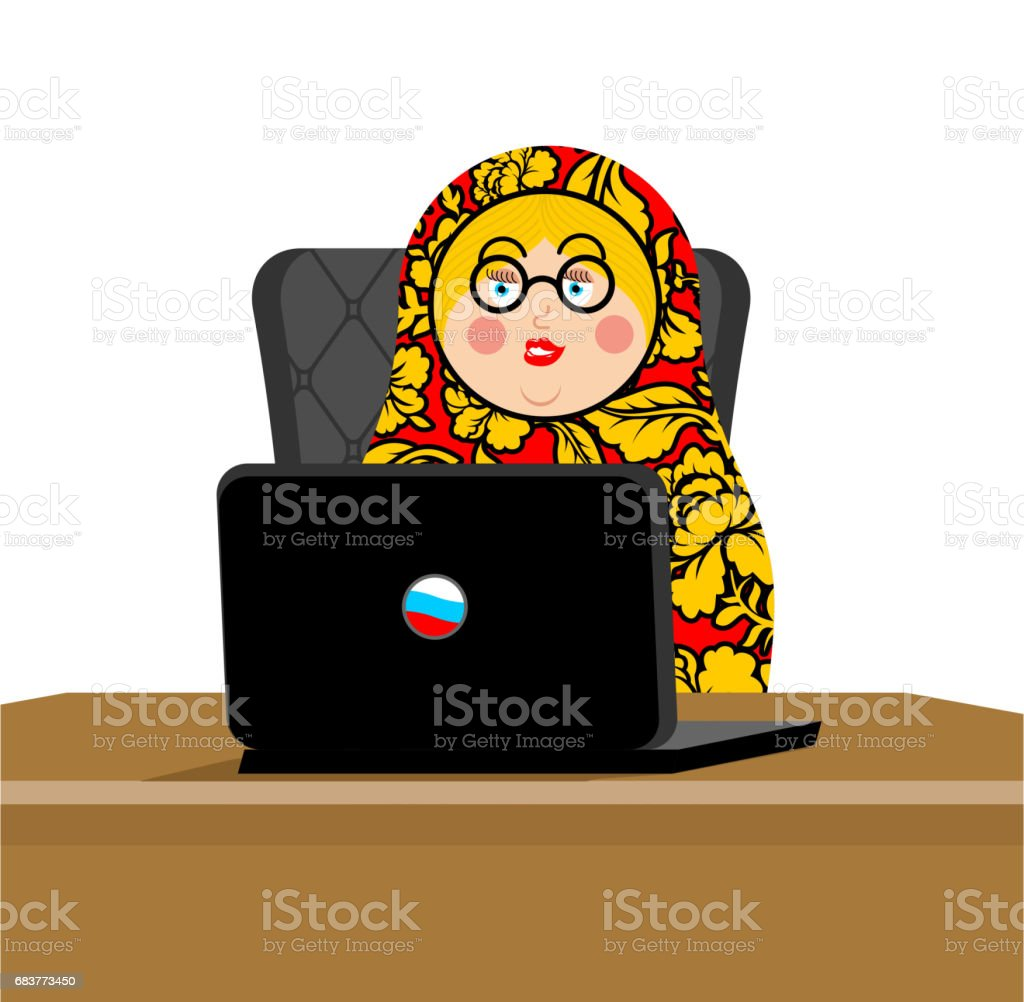Russian hacker. Matryoshka and laptop. IP technology in Russia. Traditional folk toy. Nested doll vector art illustration