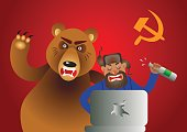 Russian hacker with laptop, vodka and own pet bear on USSR flag background.