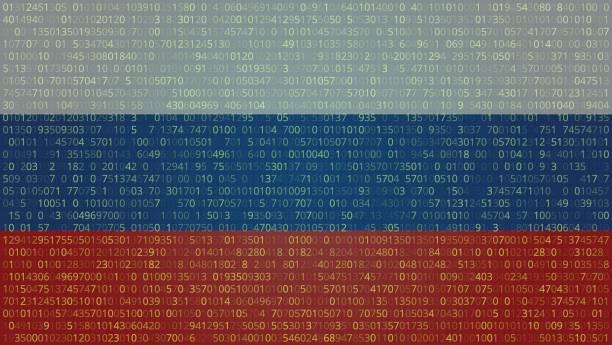 rus hacker teknolojik altyapı soyut. bilgisayar kodu. - rusya stock illustrations