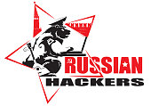 Russian hackers. Bear on the background of the Moscow Kremlin sits at the computer. Stars, balalaika, hammer and sickle, all the attributes are present. Humorous visualization of the logo of a hypothetical organization of Russian hackers. Joke. Vector.