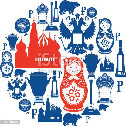 A set of Russian themed icons. Click below for more travel images and icon sets.