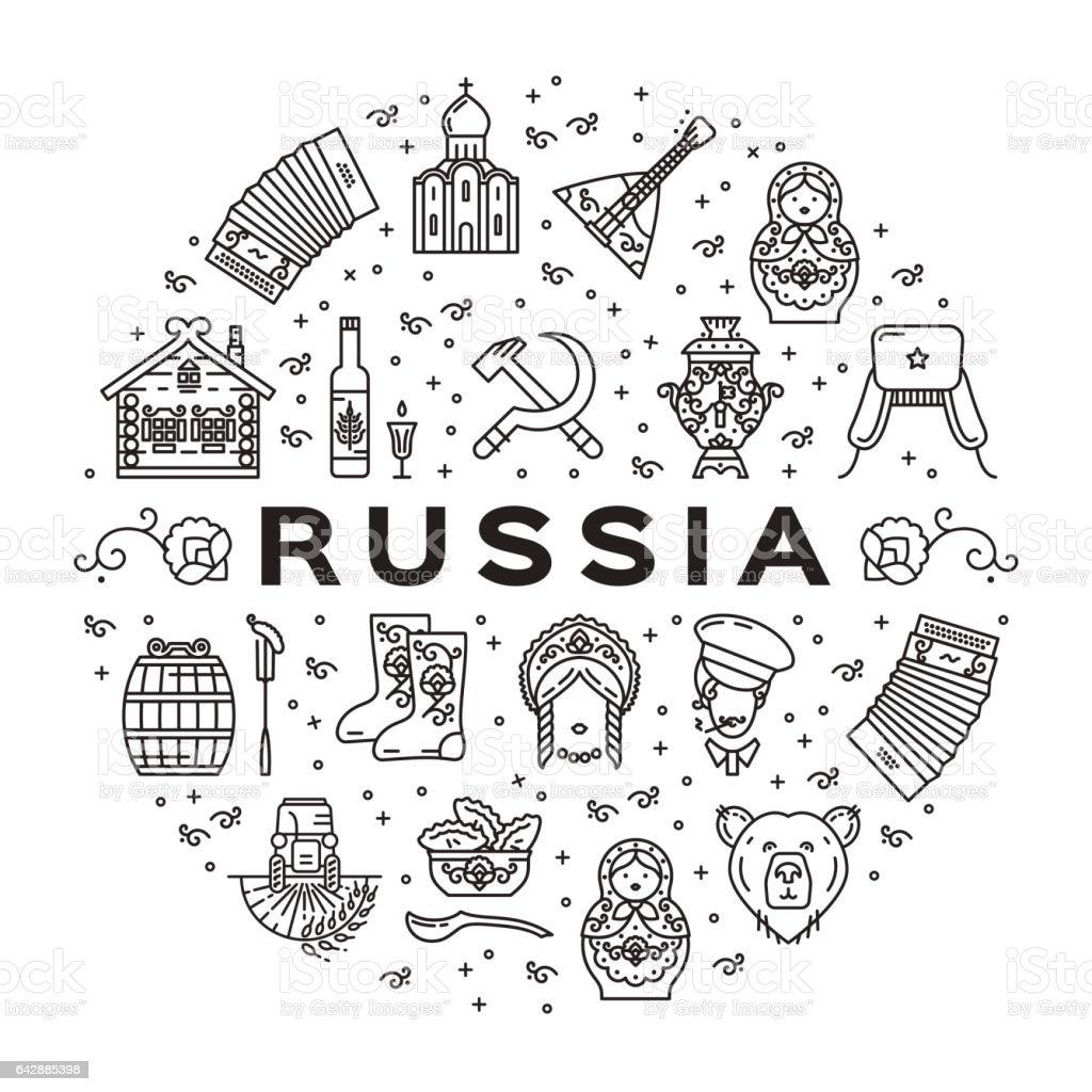 Russian line icons circle infographics. Russian traditional symbols - flag, food, matryoshka doll, vodka, samovar