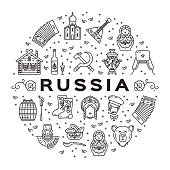 Russian line icons circle infographics. Russian traditional symbols - flag, food, matryoshka doll, vodka, samovar