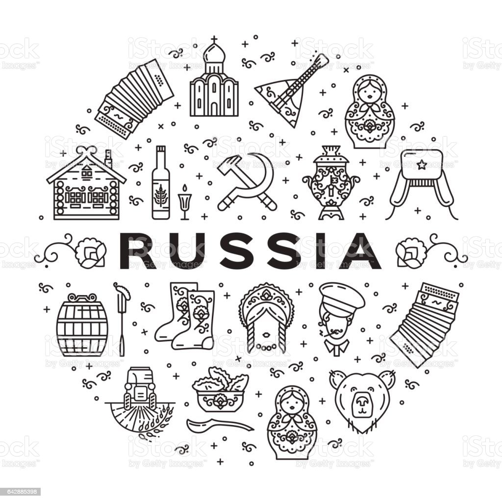 Russian line icons circle infographics. Russian traditional symbols - flag, food, matryoshka doll, vodka, samovar vector art illustration