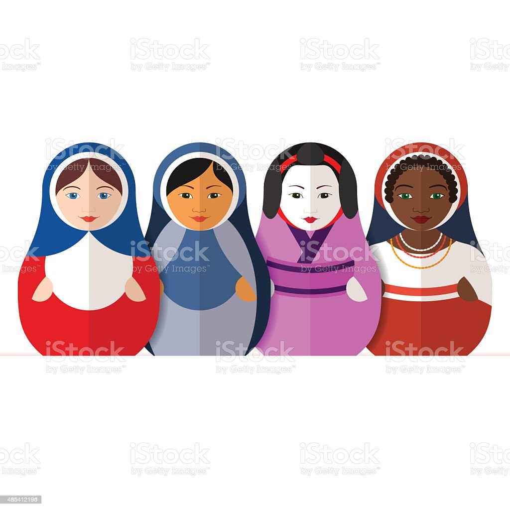 Russian matryoshka dolls in different traditional clothes vector art illustration