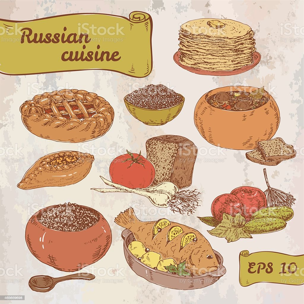 Russian national food vector art illustration