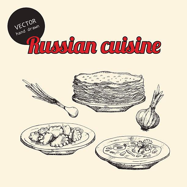 bildbanksillustrationer, clip art samt tecknat material och ikoner med russian national food - crepe