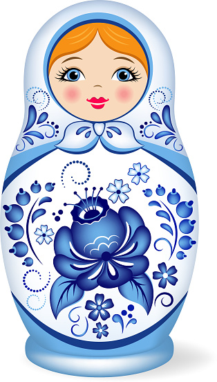 Russian nesting doll. Babushka or Matryoshka. Decorated with Gzhel, Russian traditional painted floral pattern.