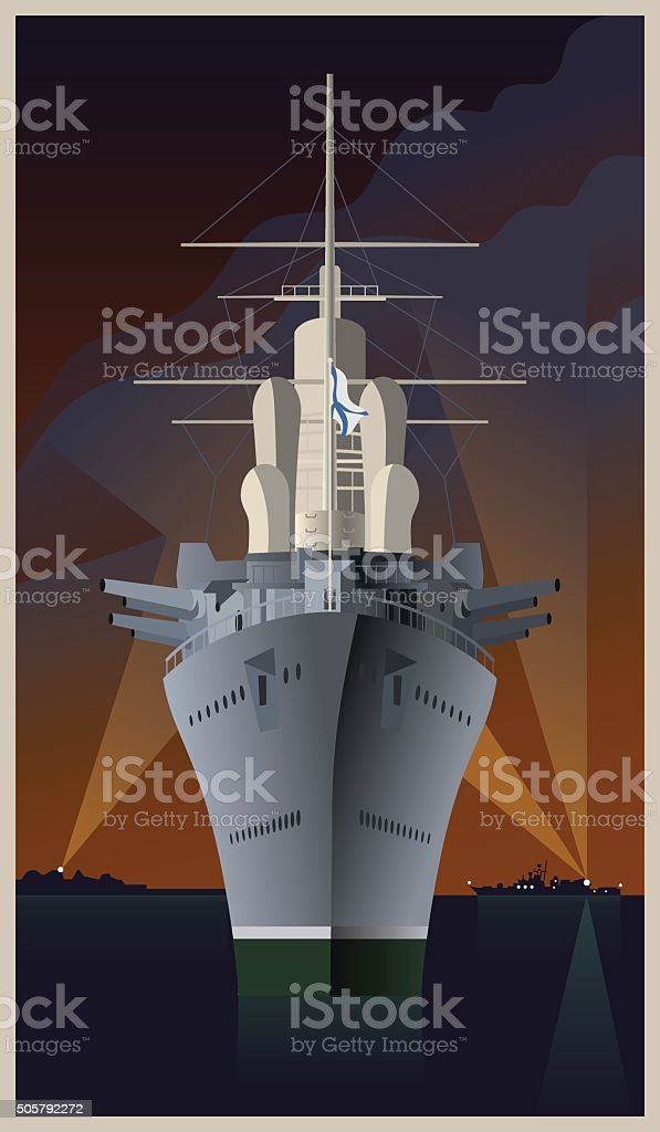 Russian old cruiser. Vector illustration in art deco style. vector art illustration