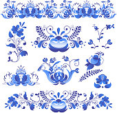 Russian ornaments art frames in gzhel style painted with blue on white flower traditional folk bloom branch pattern vector illustration. Ornamental national leaf nature souvenir blossom.