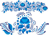 Russian ornaments art gzhel style painted with blue on white flower traditional folk bloom branch pattern vector illustration
