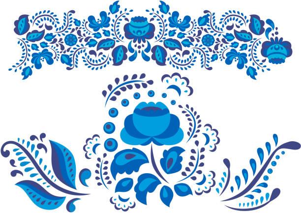 ilustraciones, imágenes clip art, dibujos animados e iconos de stock de estilo de gzhel de arte ruso ornamentos pintados con azul en la ilustración de vector de flor blanca floración folk tradicional rama patrón - rusia