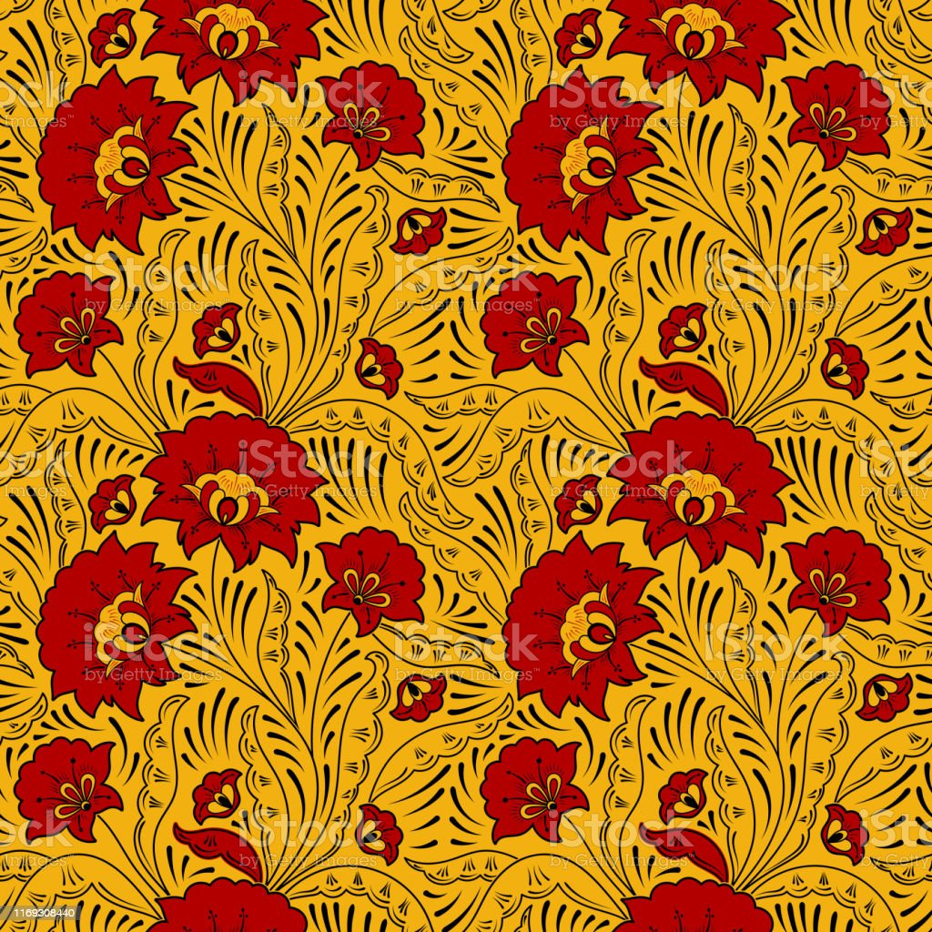 Russian Pattern Seamless Vector Ethnic Embroidery Red Flower