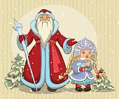 Russian Santa Claus. Grandfather Frost and Snow Maiden. Christmas card. Illustration in vector format