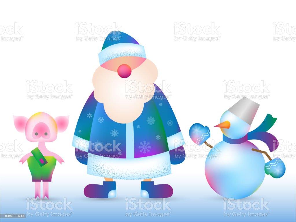 Abuelos Guarros ilustración de rusia santa claus muñeco de nieve guarro y