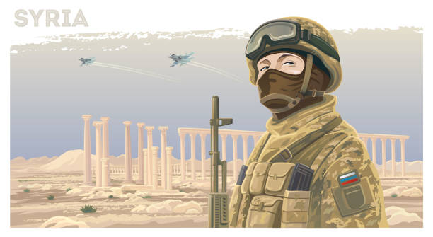 Russian soldier against the background of the Syrian Palmira Russian special forces soldier and kalashnikov against the background of the Syrian landscape with ruined ancient ruins and flying planes in the sky. trooper stock illustrations