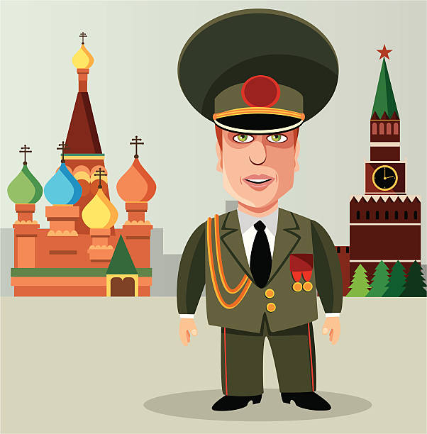 Russian soldier in a red square Vector illustration Russian soldier in a red square kremlin stock illustrations