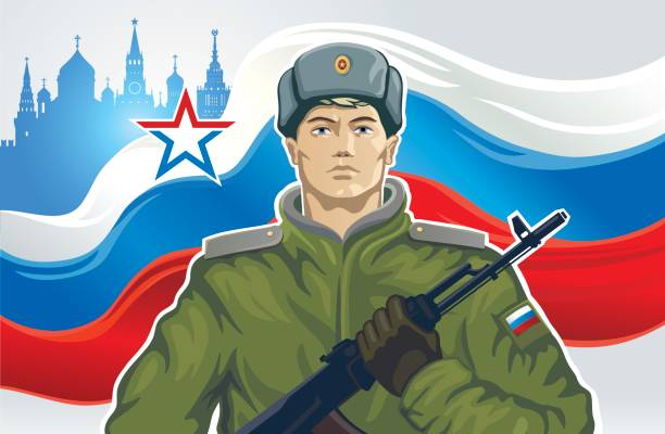 Russian soldier Russian soldier with kalashnikov of the background on Russian flag. trooper stock illustrations