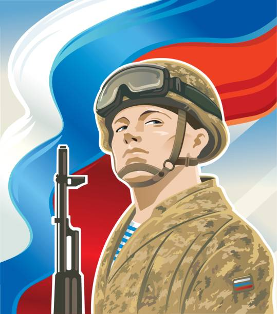 Russian soldiers Russian soldiers in the form of a sand color on the background of the Russian flag. trooper stock illustrations