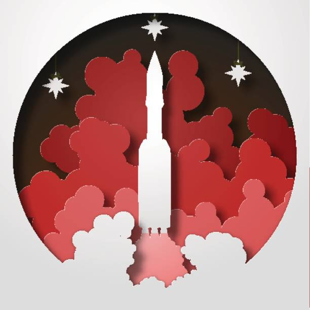 russian space rocket startup. paper cut style. vector illustration - abstract of paper spaceship launch to space stock illustrations, clip art, cartoons, & icons