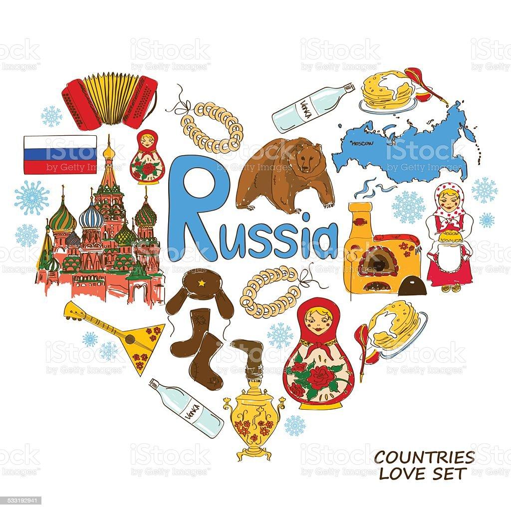 Russischen Symbole in Herzform Konzept – Vektorgrafik