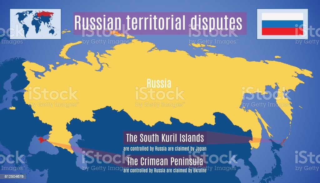 Russian territorial disputes vector art illustration