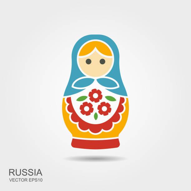 illustrazioni stock, clip art, cartoni animati e icone di tendenza di russian traditional doll souvenir - matryoshka - souvenir