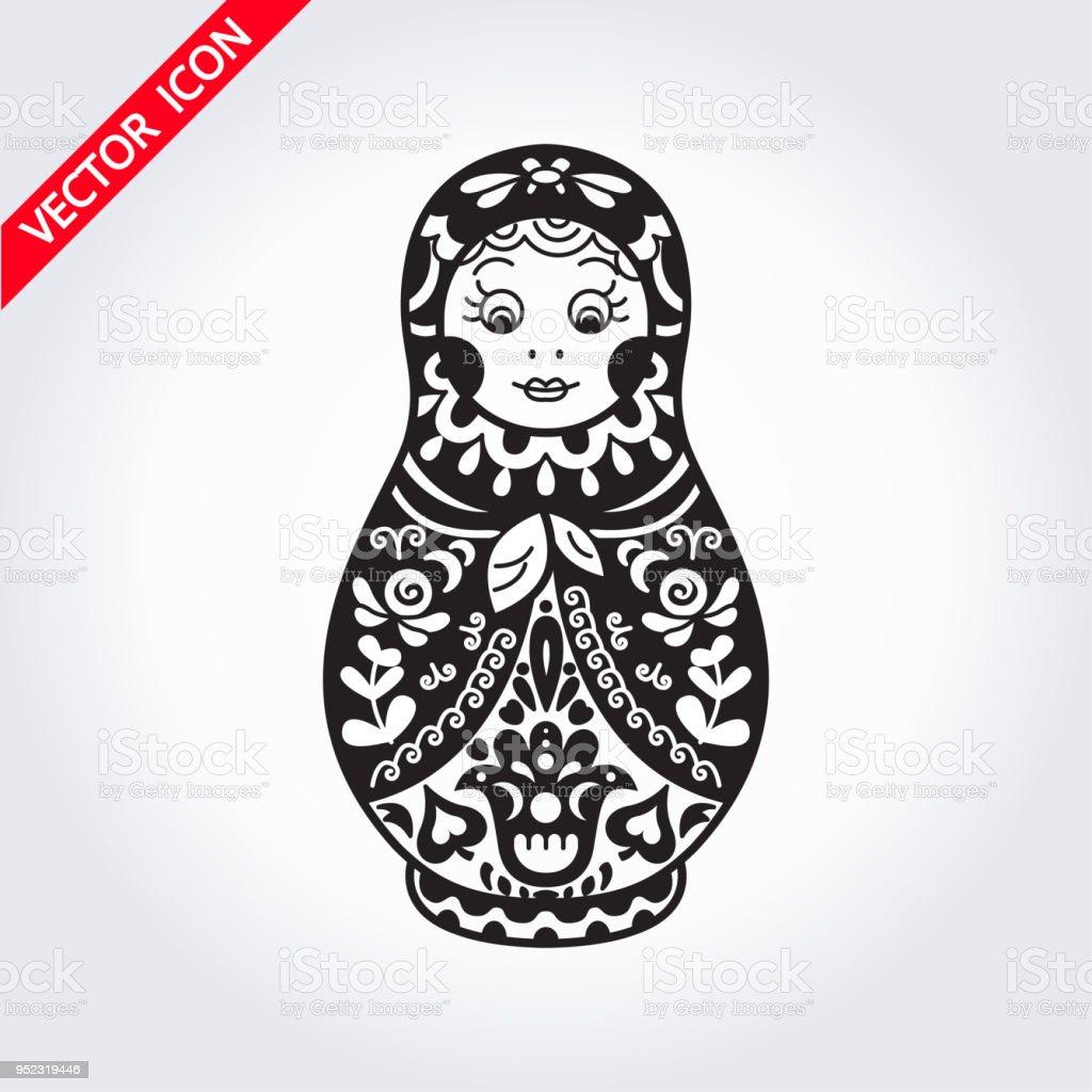 Russian traditional nested doll (matryoshka). vector art illustration