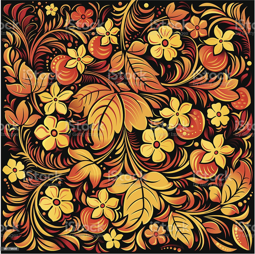 Russian traditional ornamental background vector art illustration