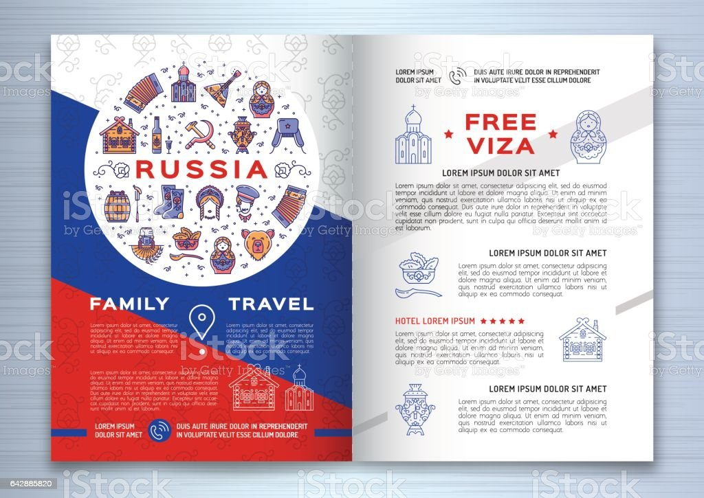 Russian Travel Brochure Template Colorful Russian Icons On A Flag - Travel brochure template