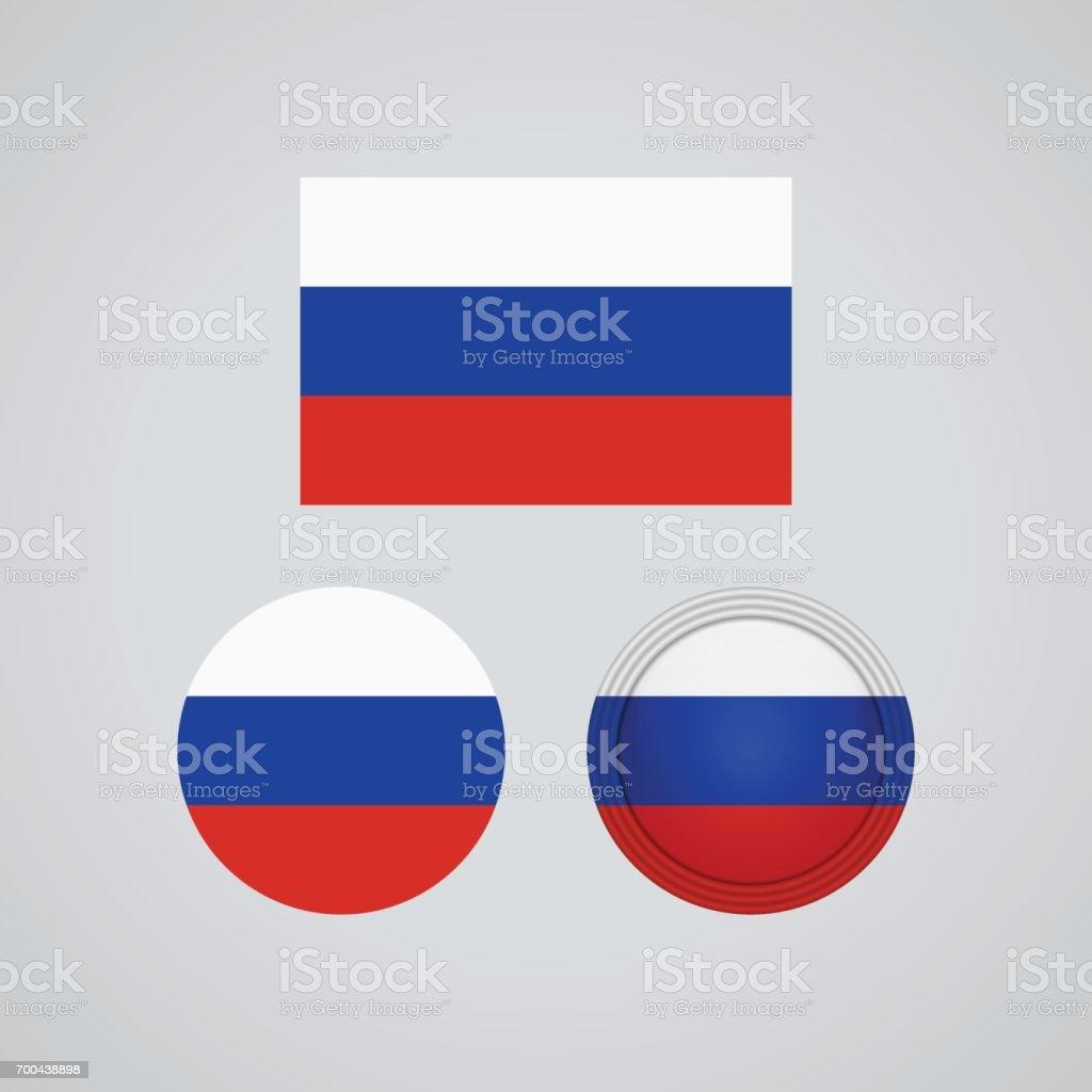 Trio russe drapeaux, illustration vectorielle - Illustration vectorielle