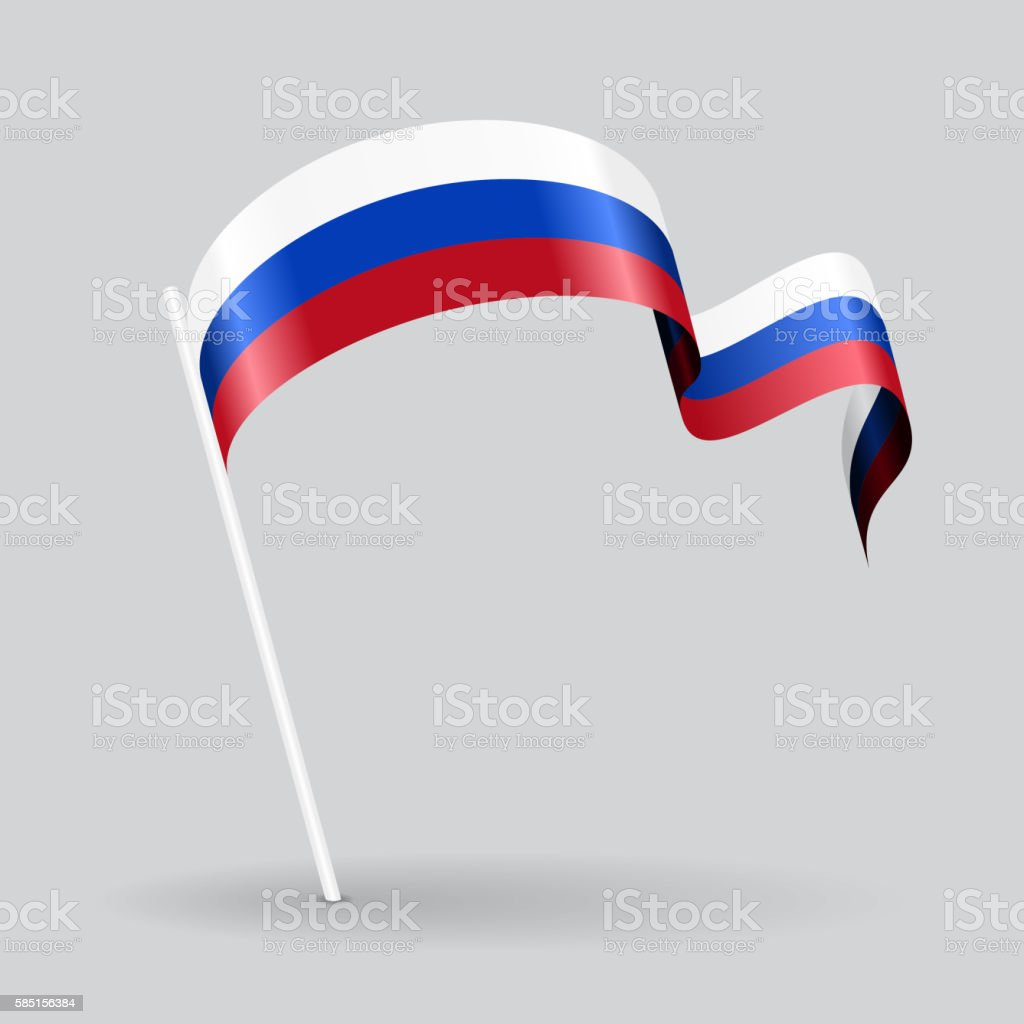 Russian wavy flag. Vector illustration. - ilustración de arte vectorial