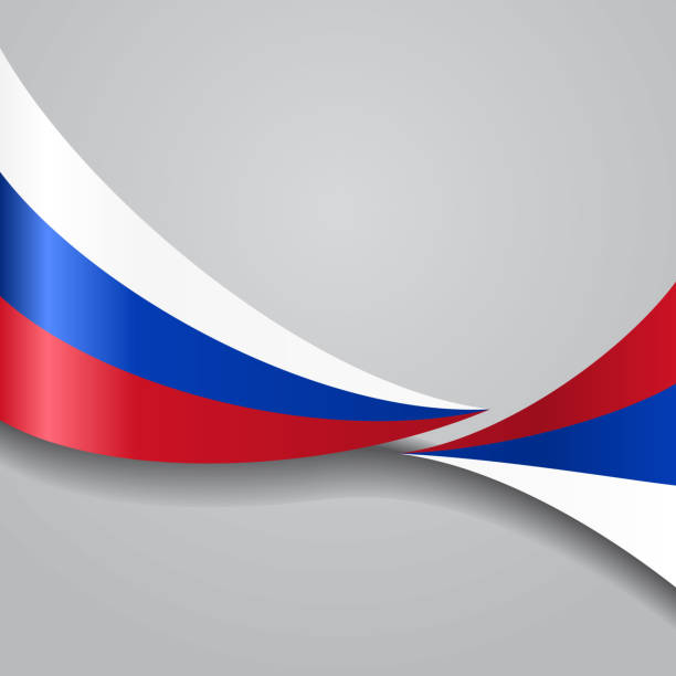 russian wavy flag. vector illustration. - russian flag stock illustrations, clip art, cartoons, & icons