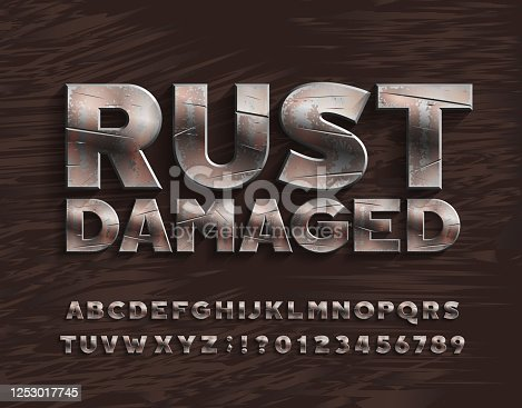 istock Rust Damaged alphabet font. Bold metal letters and numbers. 1253017745