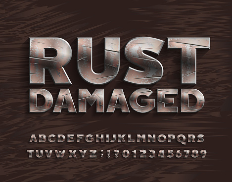 Rust Damaged alphabet font. Bold metal letters and numbers.