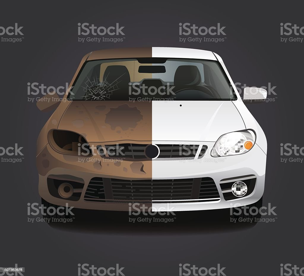 Rust dirty car repair before and after vector art illustration