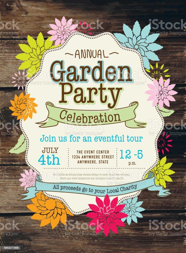 Rustikal und farbenfrohe Frühling Garten-Party-Einladung design-Vorlage – Vektorgrafik