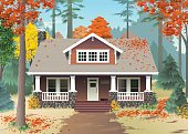 A reddish brown stone house with white trim sits in an autumn forest of red and gold leaves.