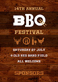 Poster for a BBQ festival with country themed wooden boards background