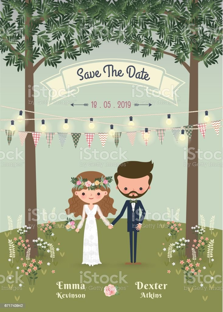 Rustic Bohemian Cartoon Couple Wedding Invitation Card In The Forest Royalty Free