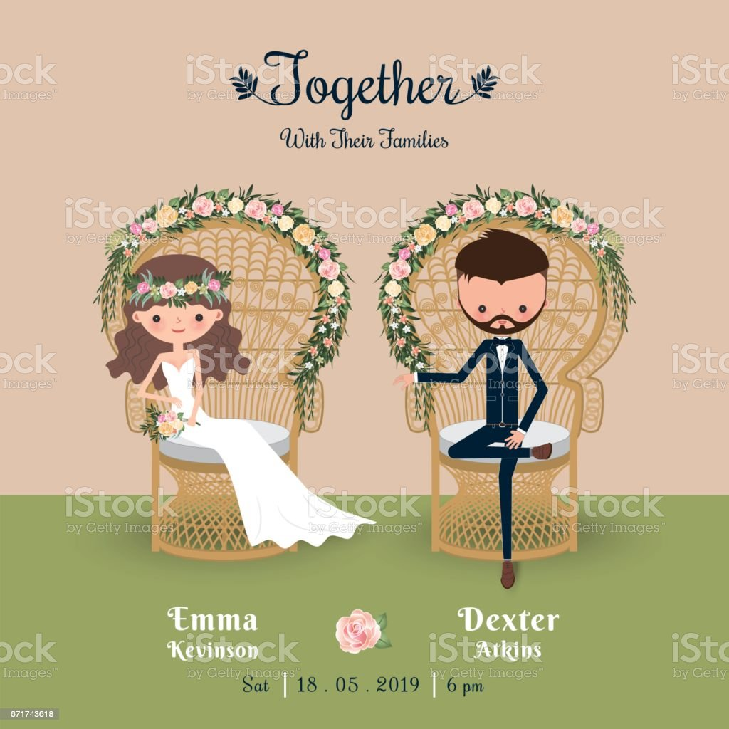 Rustic bohemian cartoon couple wedding invitation card stock vector rustic bohemian cartoon couple wedding invitation card royalty free rustic bohemian cartoon couple wedding invitation stopboris Image collections