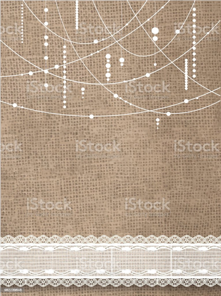 Rustic Burlap And Hanging Beads Background Lace Royalty Free