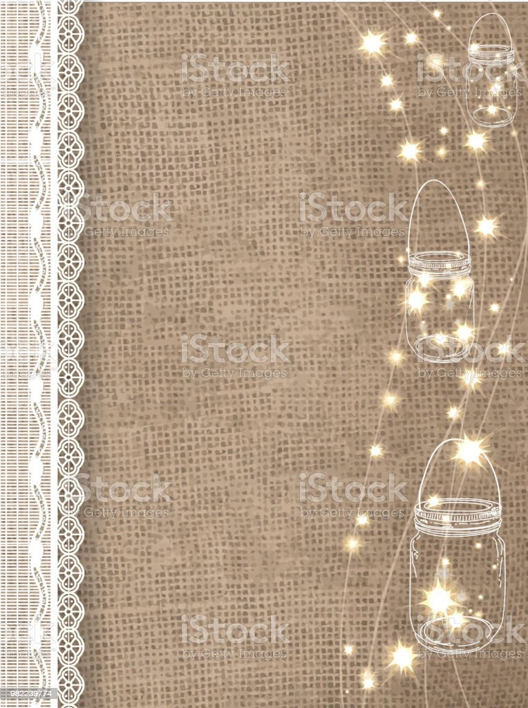 Rustic Burlap Background With String Lights And Lace Royalty Free