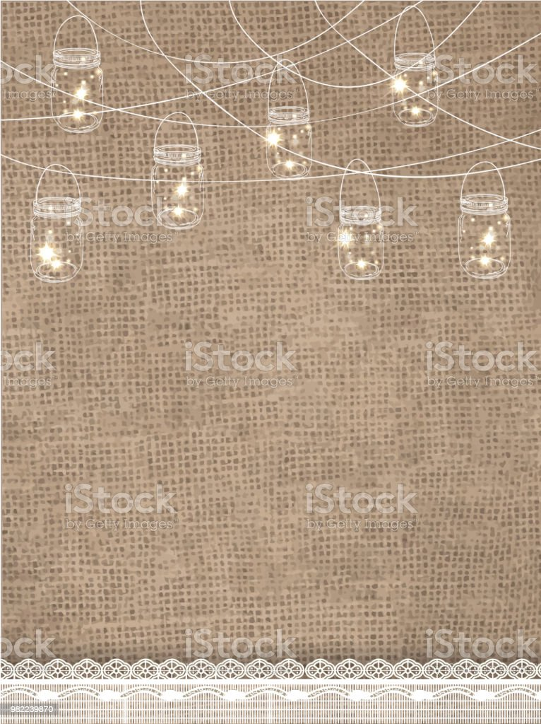 Rustic burlap background with string lights and lace vector art illustration