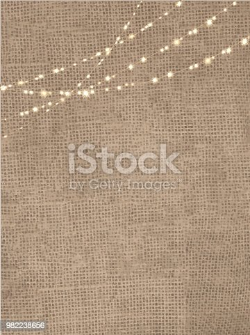 Vector illustration of a Rustic burlap background with string lights. Easy to edit.
