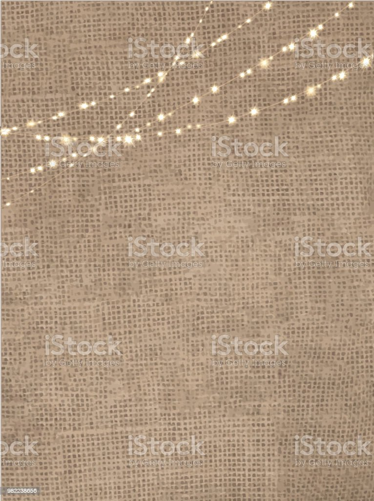Rustic burlap background with string lights vector art illustration