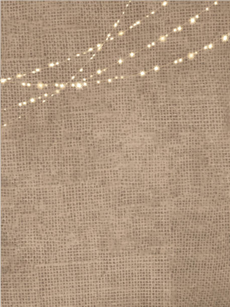 rustic burlap background with string lights - light strings stock illustrations, clip art, cartoons, & icons