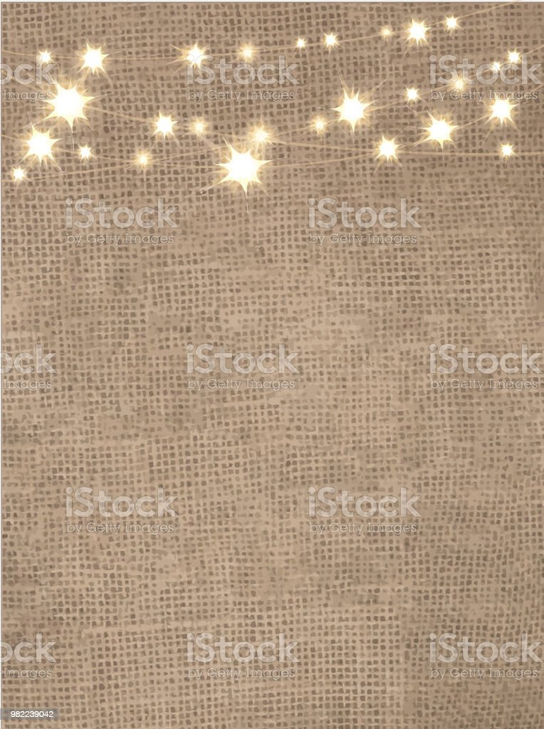 Rustic Burlap Background With String Lights Royalty Free Stock