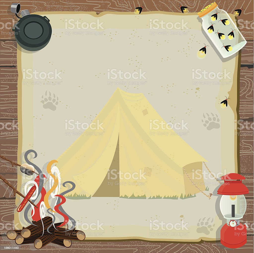 Rustic Camping Party Invitation royalty-free stock vector art